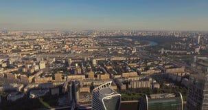centrum biznesu miasto Moscow drapacze chmur powietrzna fotografia Moskwa centrum handlowe Szklani drapacz chmur strzelający w a zbiory wideo