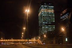 centrum biznesu Moscow Francisco bay bridge ca nocy razem San Zdjęcie Stock