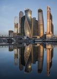 Centrum Biznesu Moskwa miasto przy wschodem słońca Zdjęcia Royalty Free