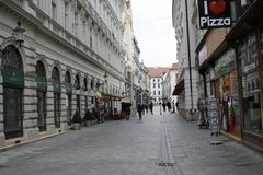 In centrum of Bratislava Old Town stock photography
