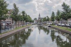 The Centrum Of Weesp The Netherlands. The Centrum Of The City Of Weesp Netherlands 2018. View From The Slijkstraatbrug Stock Images