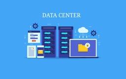 Centrum danych, serweru zarządzanie, obłoczny obliczać, gości usługi, płaski projekta pojęcie sztandaru eps10 kartoteka ablegrują royalty ilustracja