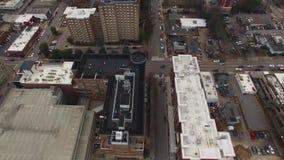 Centrum för uppsättning för film för Raleigh NC flyg- byggnadsvinklar lager videofilmer