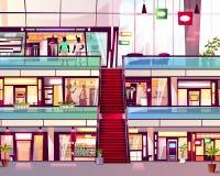 Centrum handlowe sklep z eskalatoru wektoru ilustracją royalty ilustracja