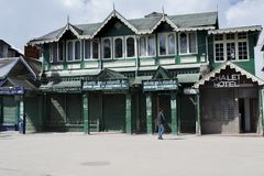 Centrum handlowe w Darjeeling jest środkowym miejscem dokąd miejscowych i turystów gromadzenia się kupować lub po prostu gawędzić fotografia royalty free