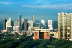 Centrum Houston, śródmieście w wieczór Teksas, USA obrazy royalty free