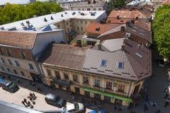 Centrum Ivano-Frankivsk, Ukraina, w wiośnie 2016 Wąski s Fotografia Royalty Free