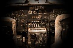 Centrum konsola i przepustnicy w samolocie Fotografia Stock