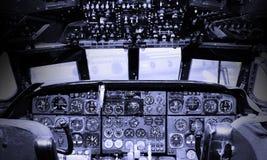 Centrum konsola i przepustnicy w samolocie Obrazy Stock