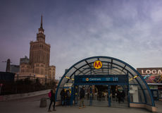Centrum Metro station in Warsaw. Poland, with Palace of Culture and Science in the background Royalty Free Stock Photo