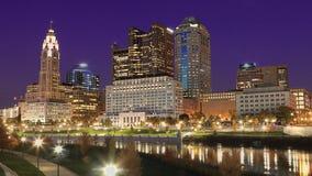 Centrum miasta przy nocą w Kolumb, Ohio Zdjęcie Royalty Free