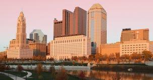 Centrum miasta przy zmierzchem w Kolumb, Ohio Zdjęcie Royalty Free