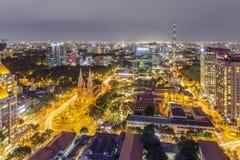 Centrum miasto w nocy Zdjęcia Stock