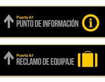 Centrum pomocy humanitarnej i bagaż lotniskowi podpisujemy wewnątrz hiszpańszczyzny Obraz Stock