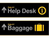 Centrum pomocy humanitarnej i bagażu lotniska znaki Obrazy Royalty Free
