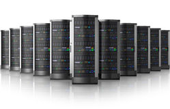 centrum sieć przesyłania danych rzędu serwery royalty ilustracja