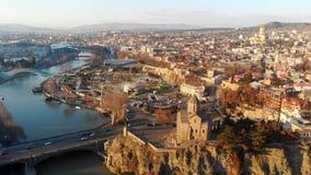 centrum Tbilisi, Georgia för panoramautsikt 4k arkivfilmer