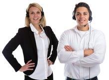 Centrum telefoniczne agenta drużyny słuchawki telefonu telefonu uśmiechnięta sekretarka Zdjęcia Stock