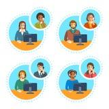Centrum telefoniczne faktorska rozmowa na telefonie z klientem royalty ilustracja