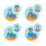 Centrum telefoniczne faktorska rozmowa na telefonie z klientem ilustracja wektor