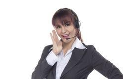 Centrum telefoniczne kobieta, uśmiechnięta biznesowa kobieta, obsługa klienta Agen Obrazy Royalty Free