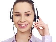 Centrum telefoniczne konsultant z hełmofonami obrazy royalty free