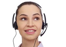 Centrum telefoniczne konsultant z hełmofonami obrazy stock