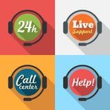 Centrum Telefoniczne, obsługa klienta/24 godziny Wspieramy Płaską ikonę Zdjęcia Royalty Free