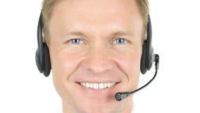 Centrum Telefoniczne operator, Uśmiechnięty agenta zakończenie Up Zdjęcie Royalty Free
