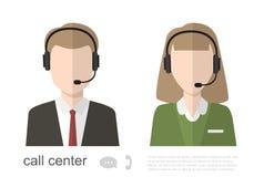 Centrum telefoniczne operatora ikony Wektorowa płaska ilustracja Zdjęcia Stock