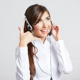 Centrum telefoniczne uśmiechnięty operator z telefon słuchawki Obraz Stock