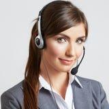 Centrum telefoniczne uśmiechnięty operator z telefon słuchawki Zdjęcia Royalty Free