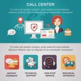 Centrum telefonicznego życzenia płaskie ilustracyjne ikony, Zdjęcie Royalty Free