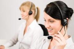 centrum telefonicznego klienta słuchawki usługa telefonicznej kobieta Fotografia Stock