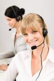 centrum telefonicznego klienta słuchawki usługa telefonicznej kobieta Zdjęcia Stock