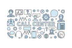 Centrum telefonicznego nowożytnego wektorowego pojęcia horyzontalny sztandar ilustracja wektor