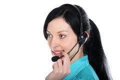 centrum telefonicznego operatora uśmiechnięta kobieta obraz royalty free