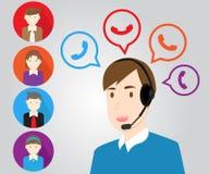 Centrum telefonicznego poparcia kadrowy personel i klient ilustracji