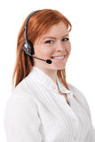 Centrum telefonicznego poparcia telefonu operator w słuchawki odizolowywającej Zdjęcie Royalty Free