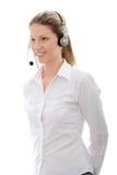 centrum telefonicznego słuchawki kobieta obrazy royalty free