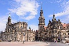 Centrum van Dresden - Oude Stad, verblijfplaats koningen van het Kasteel Residenzschloss of Schloss, Katholische Hofk van Saksen  Stock Foto