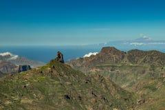 Centrum van Gran Canaria Spectaculair satellietbeeld over Caldera DE Tejeda naar Teide op Tenerife Beroemd Roque Bentayga  stock fotografie