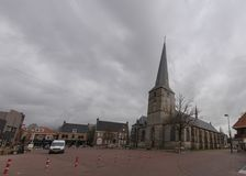 Centrum van Haaksbergen met de pancratiuskerk Stock Foto
