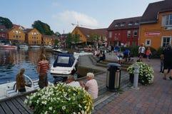 Centrum van haven Kristiansand, Noorwegen Royalty-vrije Stock Foto's