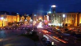 Centrum van Kiev in de avond stock videobeelden
