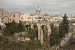 Centrum van Massafra-stad, Puglia Royalty-vrije Stock Foto's