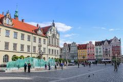 Centrum van Oldtown in Wroclaw, Polen Stock Fotografie
