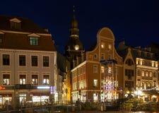 Centrum van oude stad in de avond op het Nieuwjaar Stock Afbeelding