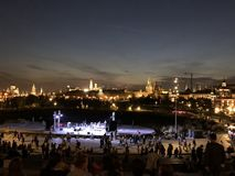 Centrum van Russisch hoofdmoskou bij nacht royalty-vrije stock foto