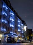 Centrum Warszawski nocy miasto centrum biznesu architektonicznej ilustracji temat hotel Zdjęcie Stock